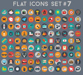 Big set of flat vector icons with modern colors of travel, marketing, hipster ,science, education ,business ,money ,shopping, objects, food — Stock Vector