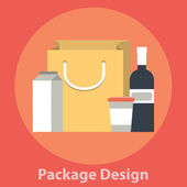 Package design: tetra pack, bottle, mug, bag — Vector de stock