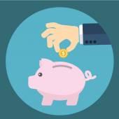Vector piggy bank concept in flat style - money savings , Inserting a coin into a piggy bank — Stock Vector