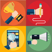 Vector collection of flat and colorful business and finance concepts. Design elements for web and mobile applications. — Stock Vector
