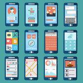 Smart phone, mobile phones, flat modern design, with different user interface elements. — Stockvektor