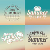 Retro elements for Summer calligraphic designs. Vintage ornaments, All for Summer holidays, tropical paradise — Stock Vector