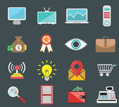 Flat icons design modern set of various financial service items, web and technology development, business management symbol, marketing items and office equipment — Vettoriale Stock