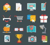 Flat icons design modern set of various financial service items, web and technology development, business management symbol, marketing items and office equipment — Stockvektor