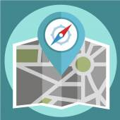 Flat colored location icon , pin and compass — Vecteur