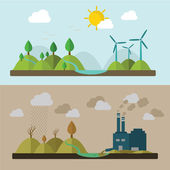 Ecology Concept Vector Icons Set for Environment, Green Energy and Nature Pollution Designs. Nuclear Power Plant and Deforestation. Flat Style. — Vecteur