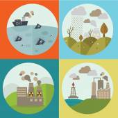 Ecology Concept Vector Icons Set for Environment, Green Energy and Nature Pollution Designs. Nuclear Power Plant and Deforestation. Flat Style. — Stock Vector
