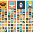 Big vector collection of flat and colorful web icons on food, business, construction and technology. — Stock Vector #57456269