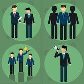 Business man and employee flat modern set. Management , human resource — Stock Vector
