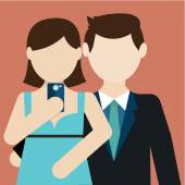 Selfie, couple taking self photo for social networking — Stock Vector