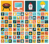 Big vector collection of flat and colorful web icons on food, business, construction and technology. — Stock Vector