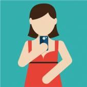 Selfie, taking self photo for social networking — Cтоковый вектор