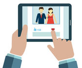 Hands holding tablet and viewing social network pages, flat modern design style — Stockvektor