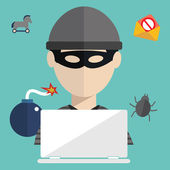 Hacker with hacking virus, spam, Trojan, phishing — Stock Vector