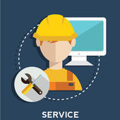 Technical service, mechanic support, call center — Stock Vector