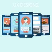 Mobile UX design Flat Interface. — Vetorial Stock