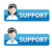 Business customer care service button or banner set of contact us support help desk phone call and website click — Stock Vector