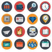 Flat business icon set. business items — Stok Vektör