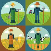 Farmer man, cow farm, picking hay, flat modern — Stock Vector