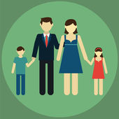 Happy family: father, mother, son, daughter . Modern flat design — Stock Vector