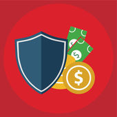 Security shield protecting money business concept vector illustration — Stock Vector