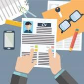 Concepto de ilustración de vector de gestión de recursos humanos, búsqueda de personal profesional, trabajo cazador principal, problema de empleo y análisis de personal resume.infographics — Vector de stock