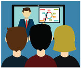Video conference. Business communication. — Stockvector