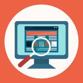 Seo, mercado y web investigación, piso moderno — Vector de stock