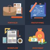 Flat modern set of business and technology concepts. Elements for mobile and web applications. — Vettoriale Stock