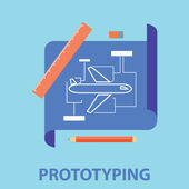 Prototyping, blueprint and development project process — Stock Vector