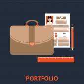 Vector illustration of portfolio flat line design concept. — Stock Vector