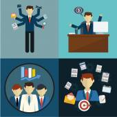 Recursos humanos y autodesarrollo. negocio moderno - ilustración vectorial — Vector de stock