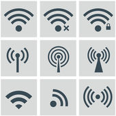 Set of wireless and wifi icons for remote access and communication via radio waves — Stock Vector