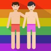 Gay couple in love on rainbow flag — Stock Vector
