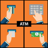 ATM machine money deposit and withdrawal — Stock Vector