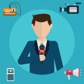 Journalism, press, news reporter — Stock Vector