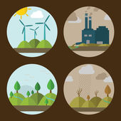 Icons of ecology, environment and pollution — Stock Vector