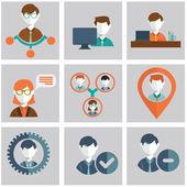 Set of human resources icons — Vector de stock
