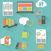 Flat design data icons set — Stock Vector