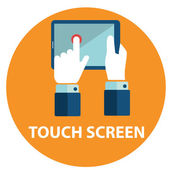 Icon of touchscreen in circle — Stock Vector