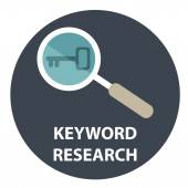 Keyword research in circle — Stock Vector