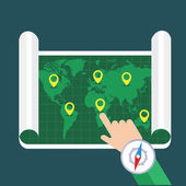 Hand showing location on map — Stock Vector