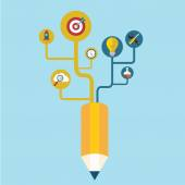 Creative pencil concept Growth Tree idea — Stockvector