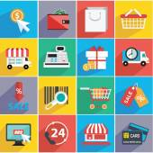 Illustration set of shopping icons — Stock Vector