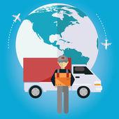 Shopping online all over  globe — Stock Vector