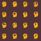 Head brain icons set — Stock Vector