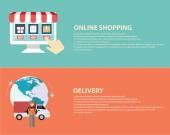Symbole e-commerce, internet zakupy elementów — Wektor stockowy