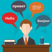 Synchronic translation services — Stock Vector