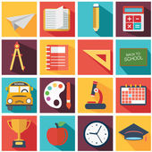 Back To School icon set. — Stock Vector