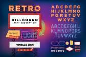 Vector set Retro neon sign, vintage billboard, bright signboard, light banner — Stock Vector